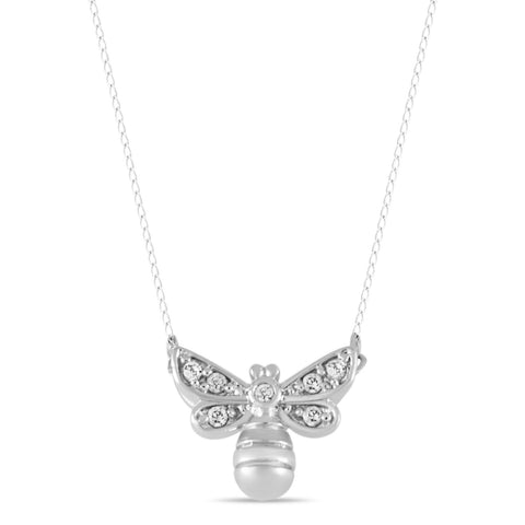Bee Necklace, Silver Plated Bumblebee Necklace, Bee Charm CZ stones Necklace - TZARO Jewelry - 1
