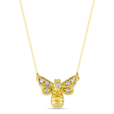 Bee Necklace, Gold Plated Bumblebee Necklace, Bee Charm CZ stones Necklace - TZARO Jewelry - 1