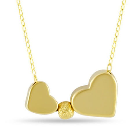 Double Heart Necklace, Gold Plated Two Hearts Necklace, Simple Modern Necklace - TZARO Jewelry - 1