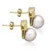 925 Sterling Silver Earrings, 14K Gold Plated Classic Cultured Freshwater Pearl Earrings - TZARO Jewelry - 3