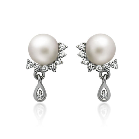 925 Sterling Silver Earrings, Teardrop Earrings, Swing Pearl Earrings, Ball Earrings
