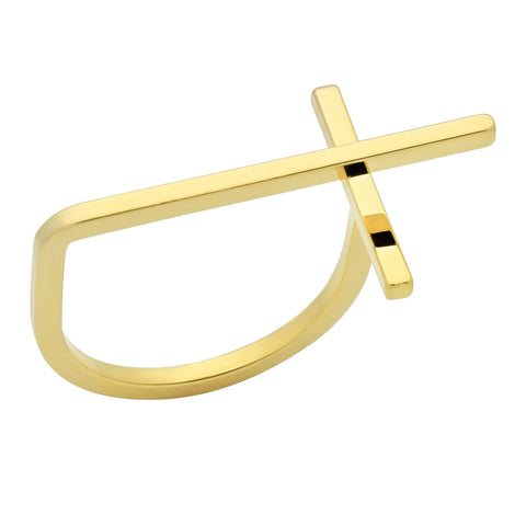 cross ring, tiny gold ring