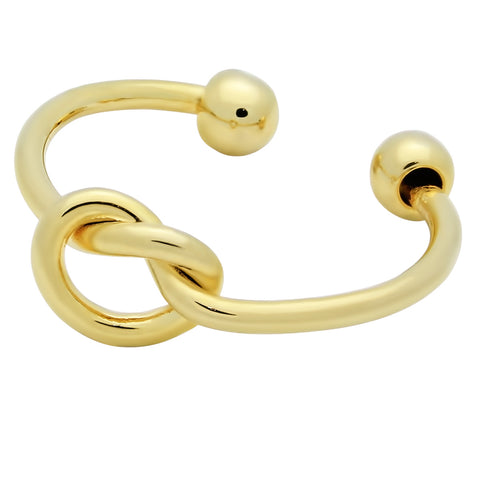 Dainty Gold Knot Ring, Adjustable Ring Gold Plated, Stackable Gold Ring - TZARO Jewelry - 1