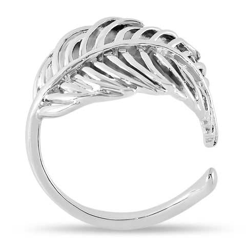 Adjustable Feather Ring, Feather Wrap Ring, Silver Plated Wrapped Leaf Ring - TZARO Jewelry - 1