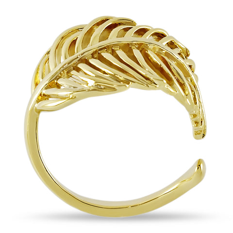 Adjustable Feather Ring, Feather Wrap Ring, Gold Plated Wrapped Leaf Ring - TZARO Jewelry - 1