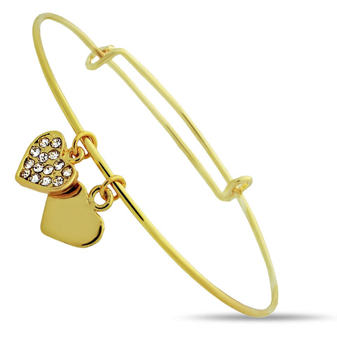 Adjustable Bracelet, 14K Gold Plated Two Hearts Bracelet - TZARO Jewelry - 2
