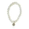 Simple Freshwater Cultured Pearl Stretch Bracelet, CZ Rhinestone Disc, Bridal Jewelry - TZARO Jewelry - 2