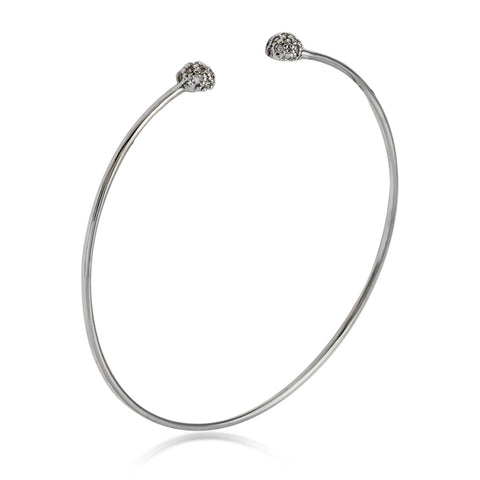 Expandable Tiny Ball Bangle Bracelet, CZ Crystals Adjustable Silver Plated Wire Bracelet - TZARO Jewelry - 2
