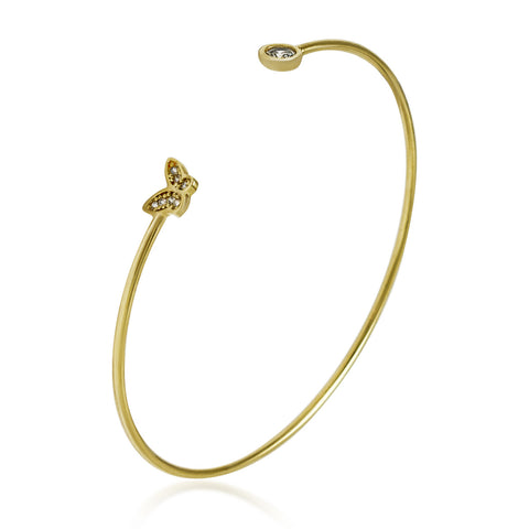 Adjustable Tiny Butterfly Bracelet, CZ Crystals Expandable Gold Plated Bangle - TZARO Jewelry - 2