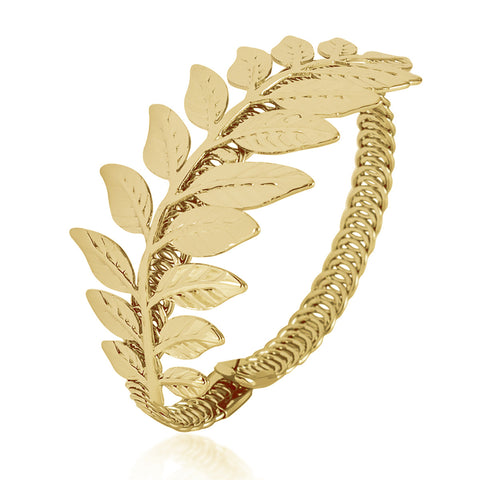 Adjustable Leaf Bracelet, Leaf Bangle, Branch Bangle Bracelet, Gold Plated Bracelet - TZARO Jewelry - 2