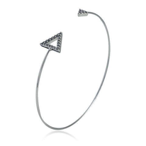 Double CZ Triangle Bangle Bracelet, Silver Plated Spike Bracelet, Triangle Bracelet - TZARO Jewelry - 1