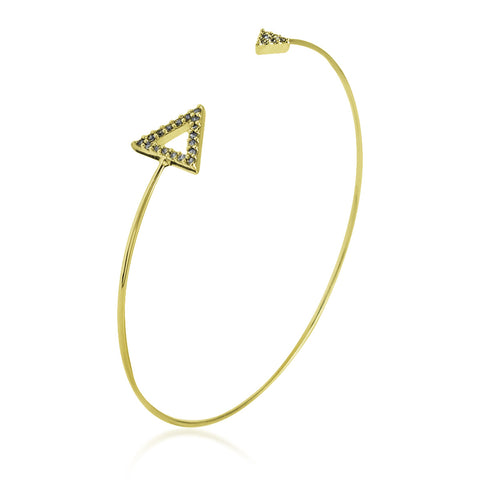 Double CZ Triangle Bangle Bracelet, Gold Plated Spike Bracelet, Triangle Bracelet - TZARO Jewelry - 2