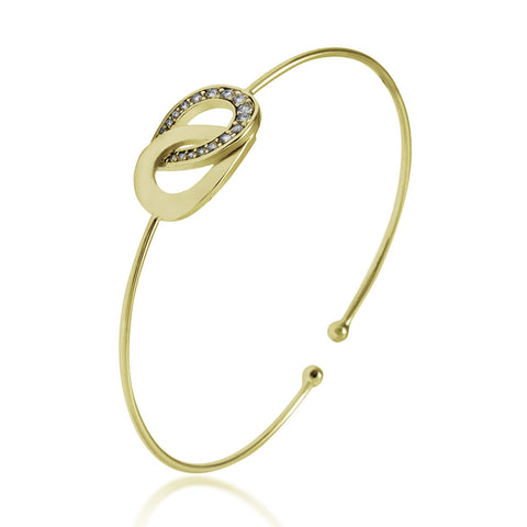 Rings Bracelet Gold Plated, CZ Interlocking Bracelet, Infinity Bracelet - TZARO Jewelry - 2