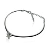Tiny Silver Plated Star Bracelet, Star Bracelet, Leather Cord Bracelet - TZARO Jewelry - 2