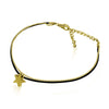 Tiny Gold Plated Star Bracelet, Star Bracelet, Leather Cord Bracelet - TZARO Jewelry - 2
