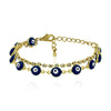 Evil Eyes Gold Plated Chain Bracelet, Evil Eye Blue Glass, Blue Eye Bracelet - TZARO Jewelry - 2
