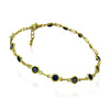 Evil Eyes Bracelet, Gold Plated Chain Bracelet, Evil Eye Black Glass - TZARO Jewelry - 2