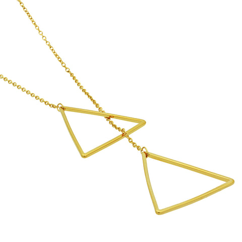 Triangle Lariat Necklace, 14K Gold Plated Geometric Modern Triangle Necklace, Minimal Necklace - TZARO Jewelry - 2
