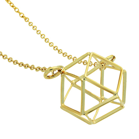 Cube Necklace,14K Gold Plated Geometric Square Necklace, Hexagon Necklace - TZARO Jewelry - 2
