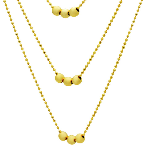 Three Tiny Ball Layered Necklace, 14K Gold Plated Elegant Minimalist Triple Necklace - TZARO Jewelry - 2