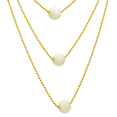 Three Pearl Dainty Necklace,14K Gold Plater Bridal Layered Pearl Necklace - TZARO Jewelry - 2