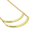 Two Bars Necklace, 14K Gold Plated Layering Bar Necklace, Curved Tube Necklace - TZARO Jewelry - 2