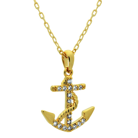 Anchor Necklace, 14K Gold Plated Dainty Anchor Necklace, Tiny Gold Anchor Charm - TZARO Jewelry - 2