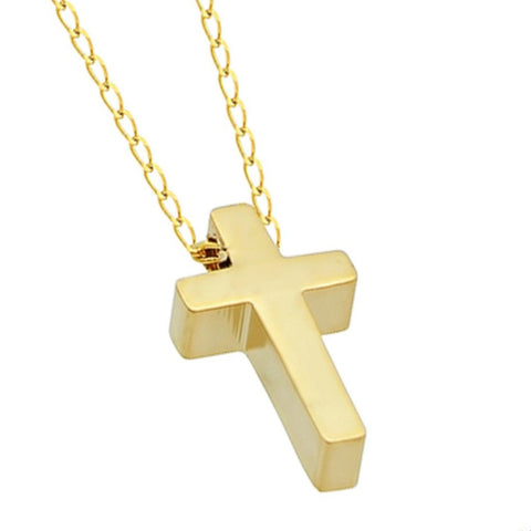 Tiny Cross Necklace, 925 Silver, Small Christian 14K Gold Plated Necklace