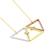 Triangle Stack Necklace, 14K Gold Plated Triple Triangle Necklace, Geometric Necklace - TZARO Jewelry - 2
