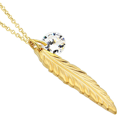 Feather Necklace, 14K Gold Plated Feather and Birthstone Necklace, Elegant Necklace - TZARO Jewelry - 2