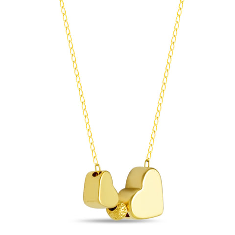 Double Heart Necklace, Gold Plated Two Hearts Necklace, Simple Modern Necklace - TZARO Jewelry - 2