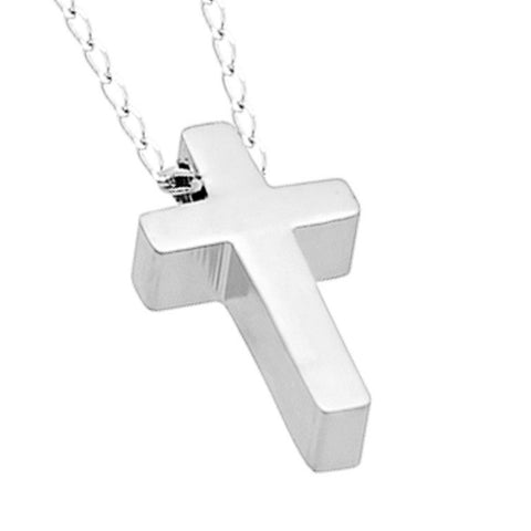 Tiny Cross Necklace, 925 Silver, Small Christian Silver Plated Necklace