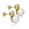 925 Sterling Silver Earrings, 14K Gold Plated Classic Cultured Freshwater Pearl Earrings - TZARO Jewelry - 1