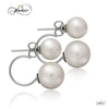 925 Sterling Silver Earrings, Double Ball Earrings, Ear Jacket Pearl Earrings
