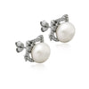 925 Sterling Silver Earrings Kitty Cat Dangle Earrings, Pearl Ball Earrings, Pearl Studs - TZARO Jewelry - 2