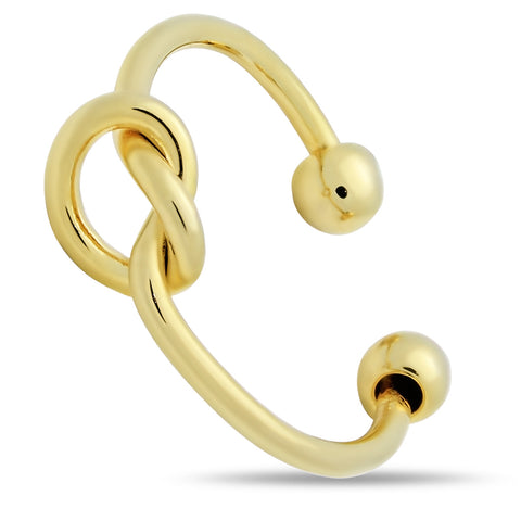 Dainty Gold Knot Ring, Adjustable Ring Gold Plated, Stackable Gold Ring - TZARO Jewelry - 2