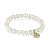 Simple Freshwater Cultured Pearl Stretch Bracelet, CZ Rhinestone Disc, Bridal Jewelry - TZARO Jewelry - 3
