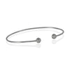 Expandable Tiny Ball Bangle Bracelet, CZ Crystals Adjustable Silver Plated Wire Bracelet - TZARO Jewelry - 3