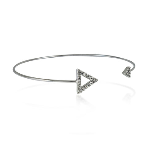 Double CZ Triangle Bangle Bracelet, Silver Plated Spike Bracelet, Triangle Bracelet - TZARO Jewelry - 2