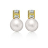 925 Sterling Silver Earrings, 14K Gold Plated Classic Cultured Freshwater Pearl Earrings - TZARO Jewelry - 2