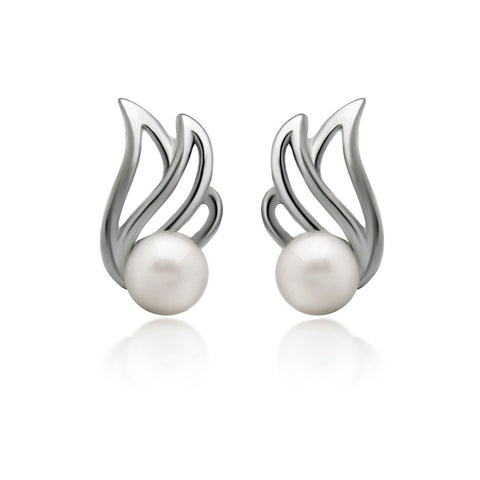 925 Sterling Silver Earrings, Tiny Pattern Pearl Earrings, Classic Pearl Stud Earrings