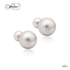 925 Sterling Silver Earrings, Ear Jacket Pearl Earrings, Double Ball Earrings