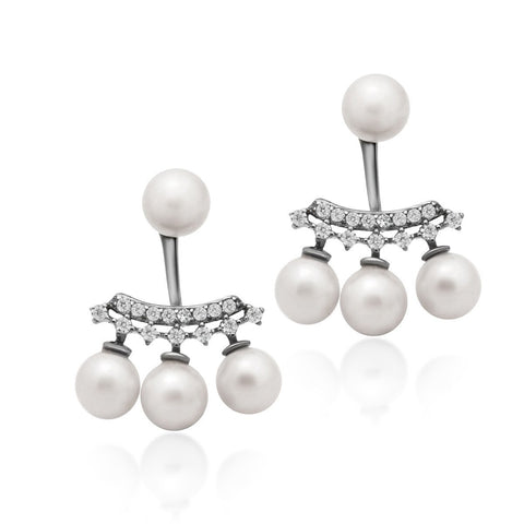 925 Sterling Silver Earrings, Ear Jacket Pearl Earrings, Four White Round Pearl Studs