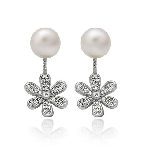 925 Sterling Silver Earrings, Swing Ear Jacket Pearl Earrings, Flower Ball Earrings