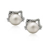 925 Sterling Silver Earrings Kitty Cat Dangle Earrings, Pearl Ball Earrings, Pearl Studs - TZARO Jewelry - 1