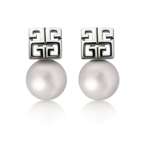 925 Sterling Silver Earrings, Pattern Pearl Earrings, Classic Cultured Freshwater Pearl Studs