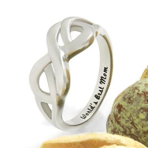 Mother Ring, Double Hearts Infinity Ring, Promise Ring