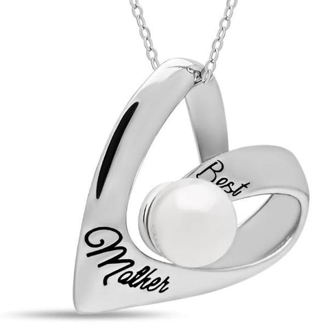 Mother Heart Necklace, 925 Silver, Silver Plated Necklace for Mom