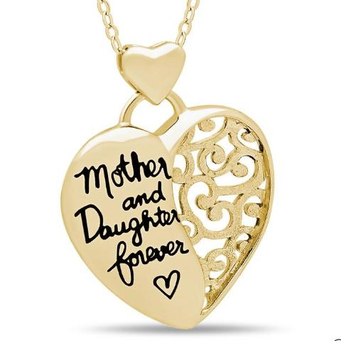 Elegant Mother Daughter Necklace, 925 Silver, 14K Gold Plated