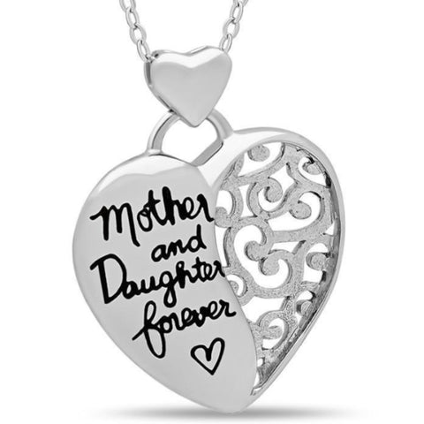 Elegant Mother Daughter Necklace, 925 Silver, Silver Plated